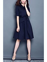 2017 primavera nova moda tendência cor sólida lapela cintura vestido