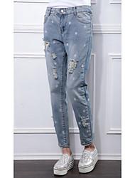 Tir réel automne nouvelle jambe européenne pantalons en vrac collapse pantalons décontractés féminins pantalons brodés en denim pantalon
