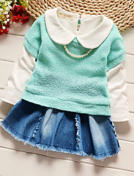 Girl's Going out Solid Dress,Cotton Long Sleeve