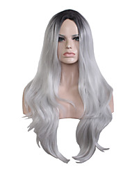 Women Long Natural Wave Middle Part Wig Black To Gray Two Tone Color Gradient Capless Wigs Heat Resistant Fashion New Design
