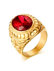 Red Stone Emerald Ring Bague Gold Plated Crystal Fashion Imitation Gemstone Anniversary Jewelry For Men