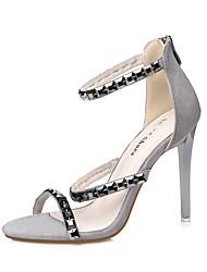 Damen-Sandalen-Kleid-Wildleder-Stöckelabsatz-Komfort-Schwarz Grau Rosa Mandelfarben
