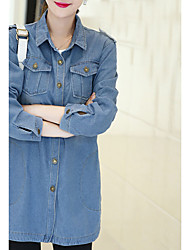College Wind Sign spring new relaxed casual denim trench coat long section long-sleeved shirt blouse tide