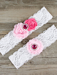 2pcs/set Rose And Pink Satin Lace Chiffon Beading Wedding Garter