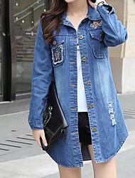 Sign 2016 new long section of loose denim shirt casual jacket coat large size hole denim jacket