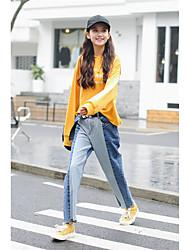 signe version coréenne était mince vent bf lâche taille a frappé la couleur denim large pantalon jambe droite jeans femme