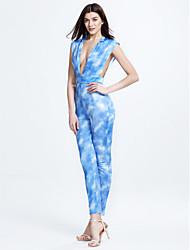 Combinaisons Aux femmes Sans Manches Sexy / simple Polyester Elastique