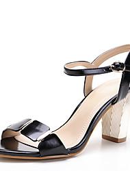 Sandals Spring Summer Fall Toe Ring PU Office & Career Dress Casual Chunky Heel Rivet Black Royal Blue Almond