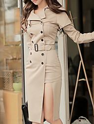2015 outono e inverno coreano novo mulheres ol temperamento casaco duplo-breasted e longo seções pacote vestido quadril