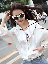Spring and summer new Korean wild hooded drawstring short jacket female Korean long-sleeved cardigan sun protection clothing tide
