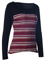 Frühjahr 2017 neue Frauen&# 39; s gestreiftes langärmliges T-Shirt gekrümmter Saum