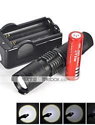 5 LED Flashlights/Torch LED 2200 Lumens 5 Mode Cree XM-L T6 1 x 18650 Battery Mini Impact Resistant Rechargeable Waterproof Strike Bezel