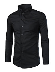 Men's Personality Stand Collar Pure Color Long-Sleeved Shirt