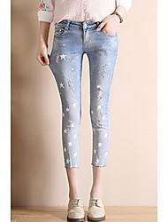 signe 2017 nouvelles étoiles impression trous scratch chat en jeans pantalon femmes pantalon sensiblement mince