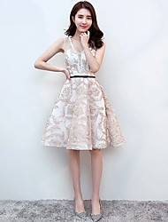 Cocktail Party Dress A-line V-neck Knee-length Lace with Sash / Ribbon