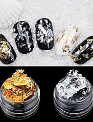 2pcs foil nail art decoração folha de prata dourada