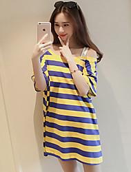 Damen Gestreift Einfach Ausgehen T-shirt,Schulterfrei Sommer Kurzarm Baumwolle Mittel