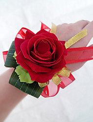 Wedding Flowers Free-form Roses Wrist Corsages Wedding Party/ Evening Red / Burgundy Satin