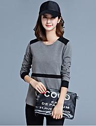 Осень новых корейских женщин сшивание хлопка вокруг шеи с длинными рукавами футболки женщин&# 39; s блузки дикие нижние рубашки