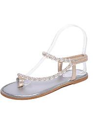 Damen Sandalen Komfort PU Frühling Sommer Normal Kleid Komfort Blockabsatz Gold Silber 2,5 - 4,5 cm