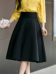 Women's High Rise Going out Casual/Daily Knee-length Skirts A Line Solid Spring Summer