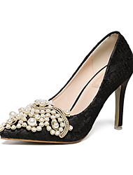 Femme-Mariage Soirée & Evénement-Blanc Noir-Talon Aiguille-club de Chaussures Flower Girl Chaussures-Chaussures à Talons-Similicuir