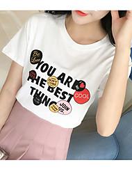Verão de mangas curtas t-shirt 2017 versão coreana do algodão novo de manga curta mulheres t-shirt