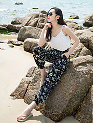 Real shot 17 summer new national wind pants trousers female bohemian beach pants wide Song Halun pants