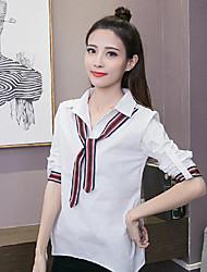 2017 women spring new long-sleeved shirt stripe lace jacket lapel stitching thin wild shirt Korean Fan