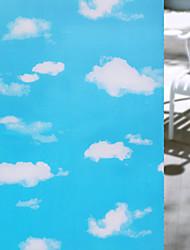 Window Film Window Decals Style Fashion Blue Sky White Cloudse PVC Window Film - (100 x 45)cm