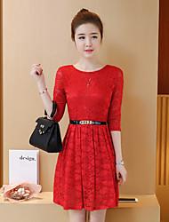 знак 2017 лето новые корейские женщины основывая кружева рукав платье длинный участок линии платье женщина