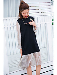 Sign stitching casual long-sleeved dress long section