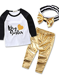 Baby Kids Sets Clothes Hair Band Long Sleeve T-shirt Tights Children Clothing Set Girls Cotton Suits