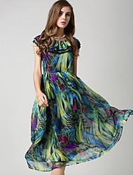 Signe 2015 nouvelle robe en mousseline de soie robe en mousseline de soie
