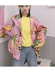 The new real shot sun protection clothing cardigan pineapple fruit print hooded jacket has a lining