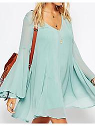 Aliexpress 2017 весной новый богемный v-шея линия динамик рукав платье шифон юбка внешней торговли