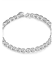 Exquisite Simple Silver Plated  Jewellery for Women Accessiories Geometric Box Style Chain & Link Bracelets