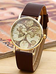Унисекс Модные часы Кварцевый Кожа Группа Повседневная World Map Pattern Черный Белый Коричневый