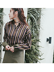 2017 new spring models leather stitching loose striped shirt fashion model real shot spot