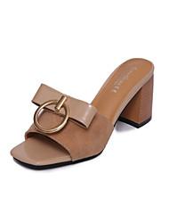 Women's Slippers & Flip-Flops Summer T-Strap Fleece Dress Casual Chunky Heel Block Heel Bowknot Black Almond Walking