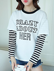 Sign fake two letters printed long-sleeved striped T-shirt female Korean students loose shirt jacket