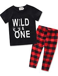 Boys Fashion Suit Kids Letter Printing Short Sleeve Cottom T-shirt Lattice Long Pants Baby Clothing Set