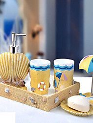Mediterranean Bathroom Accessory Set Resin