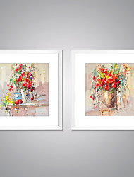 Framed Canvas Prints Abstract Red Flower Painting Picture Print on Canvas Contemporary Wall Art for Decoration