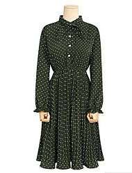 European and American big yards dress 2017 spring new wave point crimp dress fat sister
