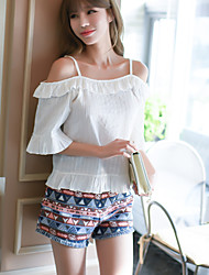 Really making 2017 summer beach blouse female lotus sleeve T-shirt collar loose strapless white shirt