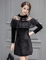 Sign flounced lace stitching long-sleeved dress Dongkuan gold velvet dress