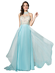 Ball Gown Halter Court Train Chiffon Formal Evening Dress with Beading