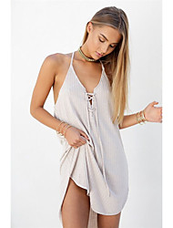 Women's Lace up spring and summer big yards loose harness dress