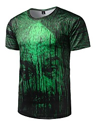 Men's Casual/Daily Active All Seasons T-shirt,Striped Round Neck Short Sleeve Polyester Medium